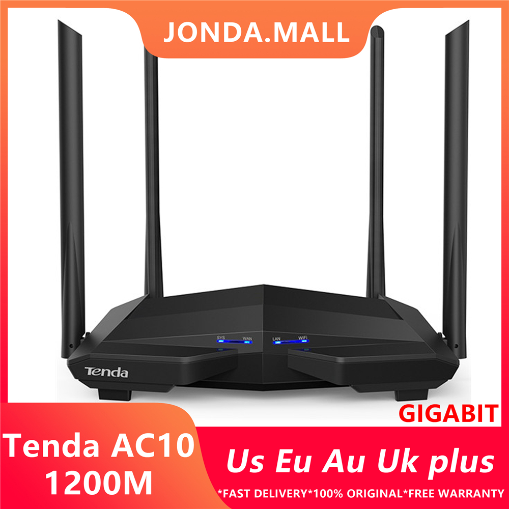 Tenda AC10 1200Mbps Wireless 2.4G+5G WiFi Router 1GHz CPU+128M DDR3 Gigabit Ports 4*6dBi High Gain Antennas, Smart APP Manage
