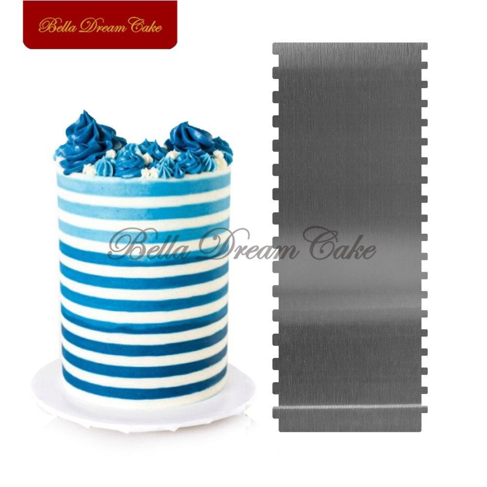 Скребок двусторонний из нержавеющей стали в форме пилы для торта