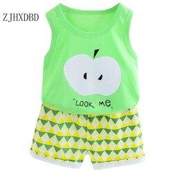 Crianças colete terno algodão menino verão pequeno médio-tamanho das crianças roupas menina bebê sem mangas shorts conjuntos de terno de duas peças