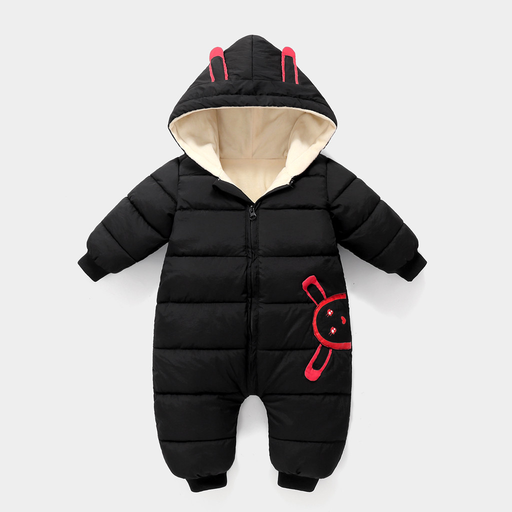 Winter Infant Baby Boy Girl Romper Jacket Hooded Jumpsuit Warm Thick C