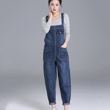 2021 New Fashion Loose Pocket Women Autumn Bib Pants Overalls Shoulder Strap Jumpsuit Large Size brand Denim Jeans Time limited