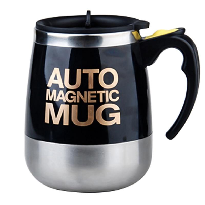 Ev ve Bahçe'ten Büyük Bardak'de Yüksek kaliteli kahve kupası paslanmaz çelik manyetik öz karıştırma otomatik kapak süt karıştırma kupalar elektrikli akıllı Shaker kahve title=