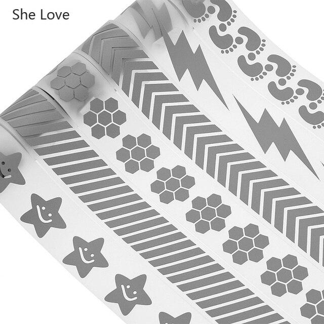 Lei Amore 100x3 centimetri di Calore di trasferimento del Nastro Riflettente Autoadesivo di Carta Pellicola Del Vinile FAI DA TE In Argento Ferro Sul Tessuto vestiti riflettenti Nastri 4