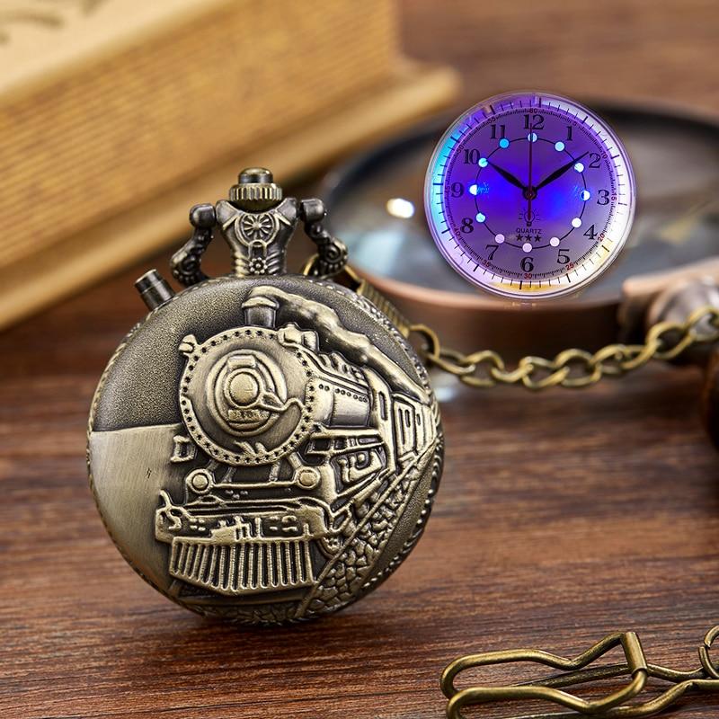 Luminous Vintage Locomotive Motor Railway Train Pocket Watch Men LED Dial Necklace Chain Quartz Pocket Watches Relogio De Bolso