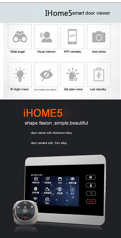 Купить с кэшбэком ROLLUP iHome5 WiFi Peephole Doorbell &Video IP Door Camera  IR PIR Door HD Bell Motion Detection IR Night Vsion 2MP Lens