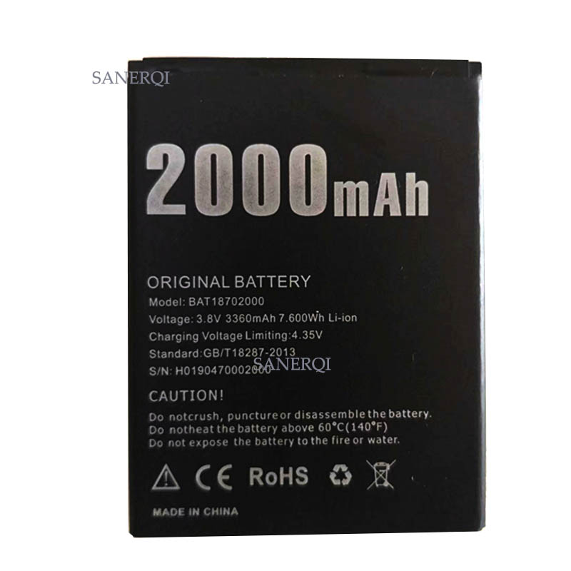 1pc DOOGEE X50 Battery Replacement <font><b>BAT18702000</b></font> 2000mAh Large Capacity Li-ion Backup Battery For DOOGEE X 50 Battery image