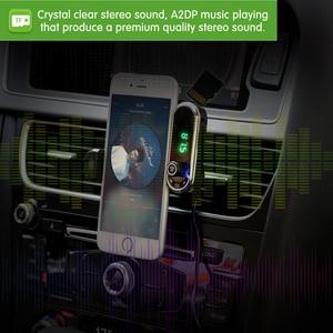 Image 2 - มัลติฟังก์ชั่ผู้ถือโทรศัพท์ Fast USB Charger FM Transmitter เสียง MP3 บลูทูธรถชุดแฮนด์ฟรี Mic สำหรับสมาร์ทโฟน