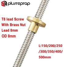 T8 Lead Screw OD 8mm Pitch 2mm Lead 8mm 150mm 200mm 250mm 300mm 350mm 400mm 500mm with Brass Nut for Reprap 3D Printer Z Axis недорого