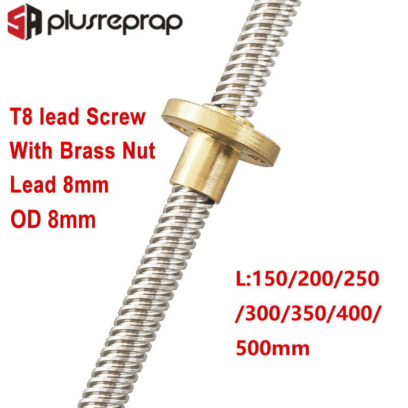 T8 Lead Screw OD 8mm Pitch 2mm Lead 8mm 150mm 200mm 250mm 300mm 350mm 400mm <font><b>500mm</b></font> with Brass Nut for Reprap <font><b>3D</b></font> <font><b>Printer</b></font> Z Axis image