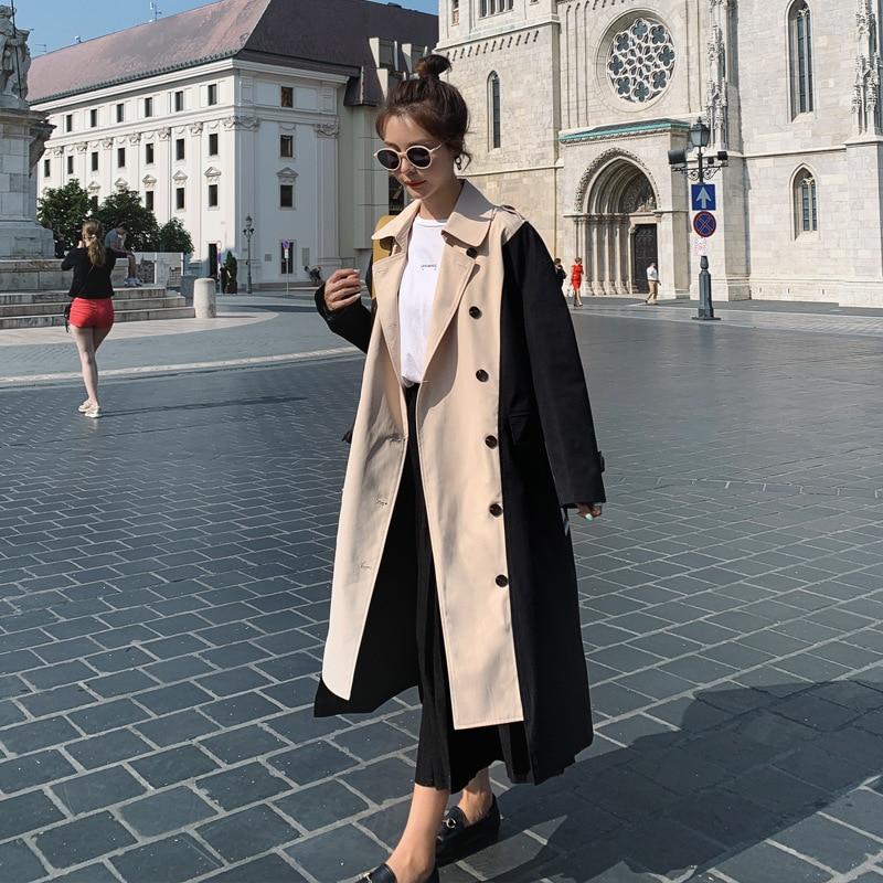 LANMREM 2020 Double-breasted Color Block Patchwork Windbreaker Long Coat Women's Medium And Long Trench Korean Trend New YJ512