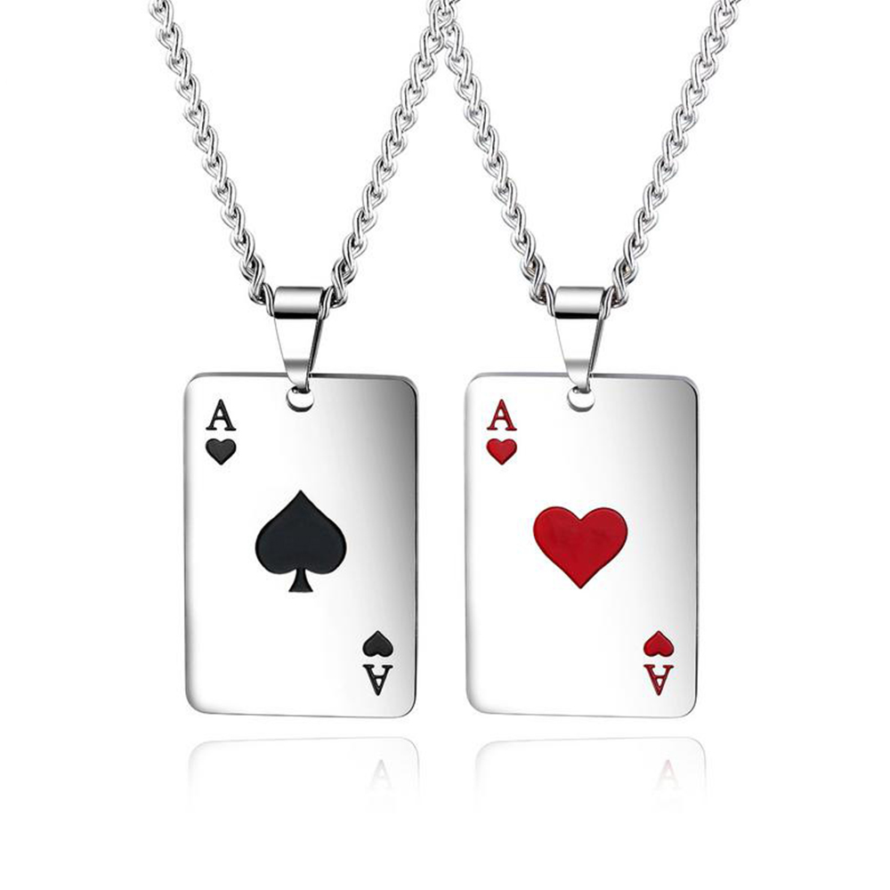 2019 New Personality Hip Hop European and American Men Women Stainless Steel Necklaces Playing Card Pendant Couple Jewelry Gift image
