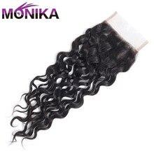 Monika Hair Closures Malaysian Water Wave Closure Natural Color Lace Closure Human Hair 4x4 Closure Hair Non Remy Free Shipping