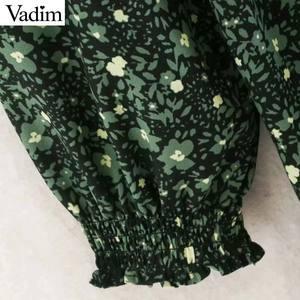 Image 5 - Vadim kadınlar chic çiçek desen mini elbise düz papyon uzun kollu kadın retro sevimli temel günlük elbiseler QD075