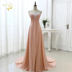 Image 1 - vestido de festa vestido longo 2020 Open Leg Lace up Sweetheart Neck Beading Crystal Formal Long Chiffon Evening Dresses OL4311
