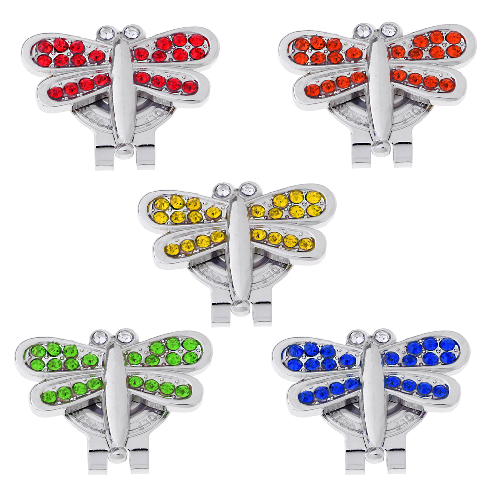 Alloy Golf Crystal Hat Cap Clip With Magnetic Detachable Ball Marker Crystal Dragonfly Shape Golf Accessories Gifts For Ladies
