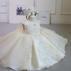 Bebê recém-nascido menina 1 ano vestido de aniversário branco renda tule recém-nascido vestido de batismo da menina infantil princesa vestido de festa traje