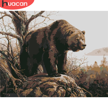 HUACAN DIY Pictures By Number Bear Kits Home Decor Animal Painting By Numbers Drawing On Canvas HandPainted Art Gift