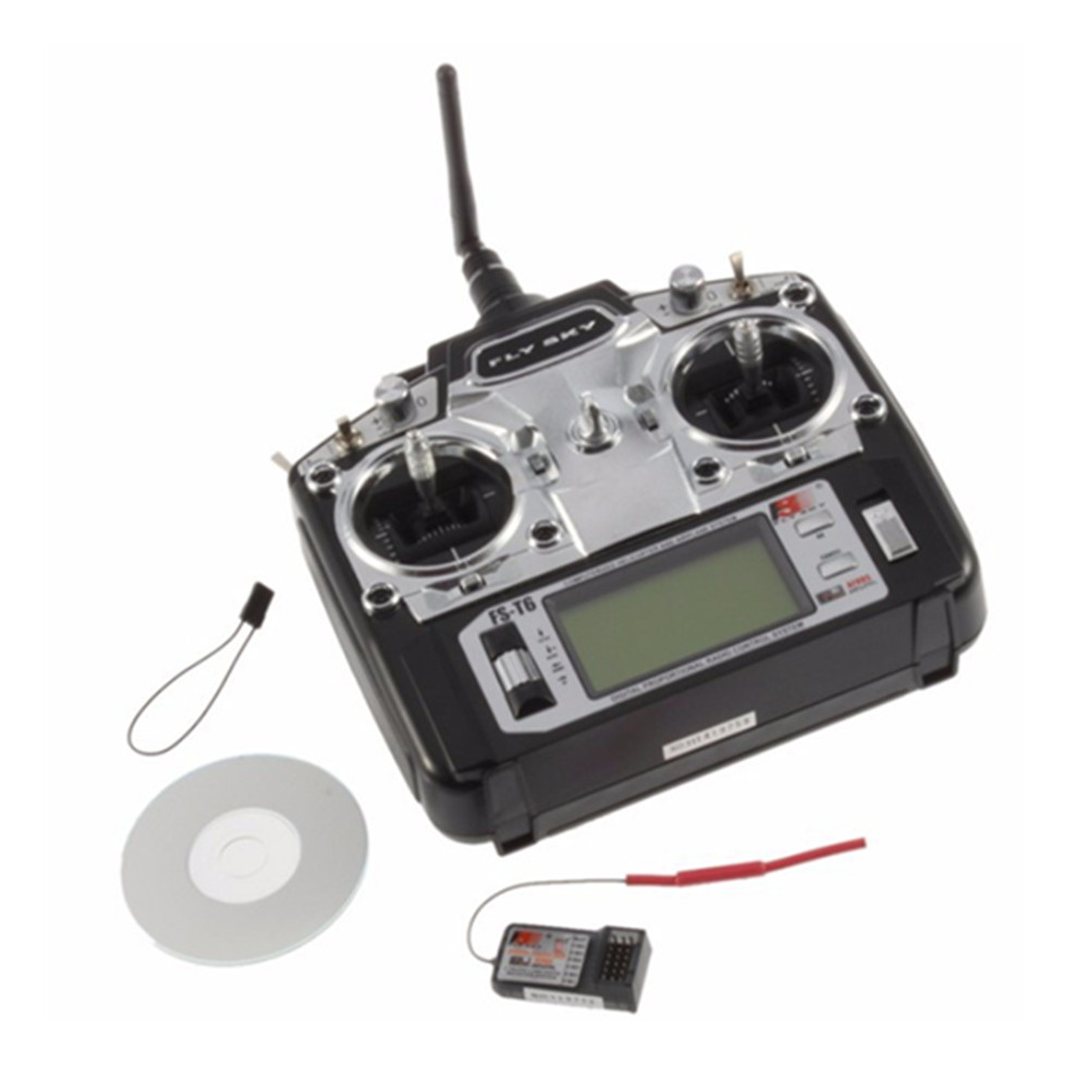 Flysky FS-T6 6CH 2.4G With LCD Screen Transmitter With FS R6B Receiver For RC Helicopter AirPlane
