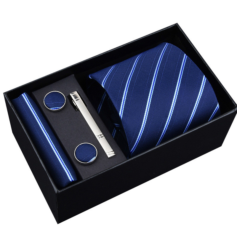 New Hot Sale Men Ties 5pcs Set Gift Box Formal Dress 145*8cm Jacquard Woven Striped Necktie Gifts For Men Wedding Party Necktie