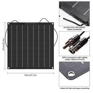 Image 5 - 中国工場出荷時の価格 50 ワットソーラーパネル単結晶柔軟なソーラーパネル etfe 50 ワットモノラル太陽電池ソーラーキット 12 12v バッテリー充電器