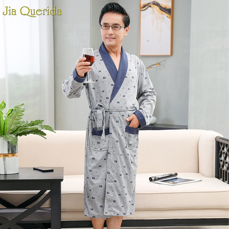 Luxury Men's Bathrobes 100% Cotton Chinese Pajama Robe Long Sleeve Lapel Belted Men Kimono Sleepwear Cotton Plus Size Men Robes