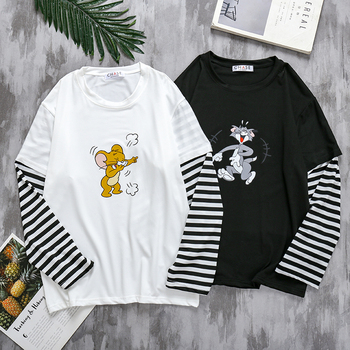 цена на Funny Tom cat Jerry mouse Patchwork stripe man T-shirt Harajuku Oversized long sleeves clothes All-match hip hop Casual 2020 top