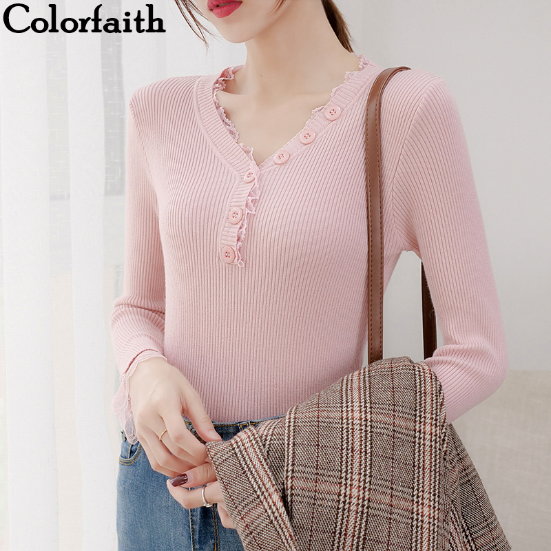 Colorfaith New 2019 Autumn Winter Women's Sweaters Tulle Button Bottoming Knitting Korean Style Slim Solid Skinny Tops SW8008