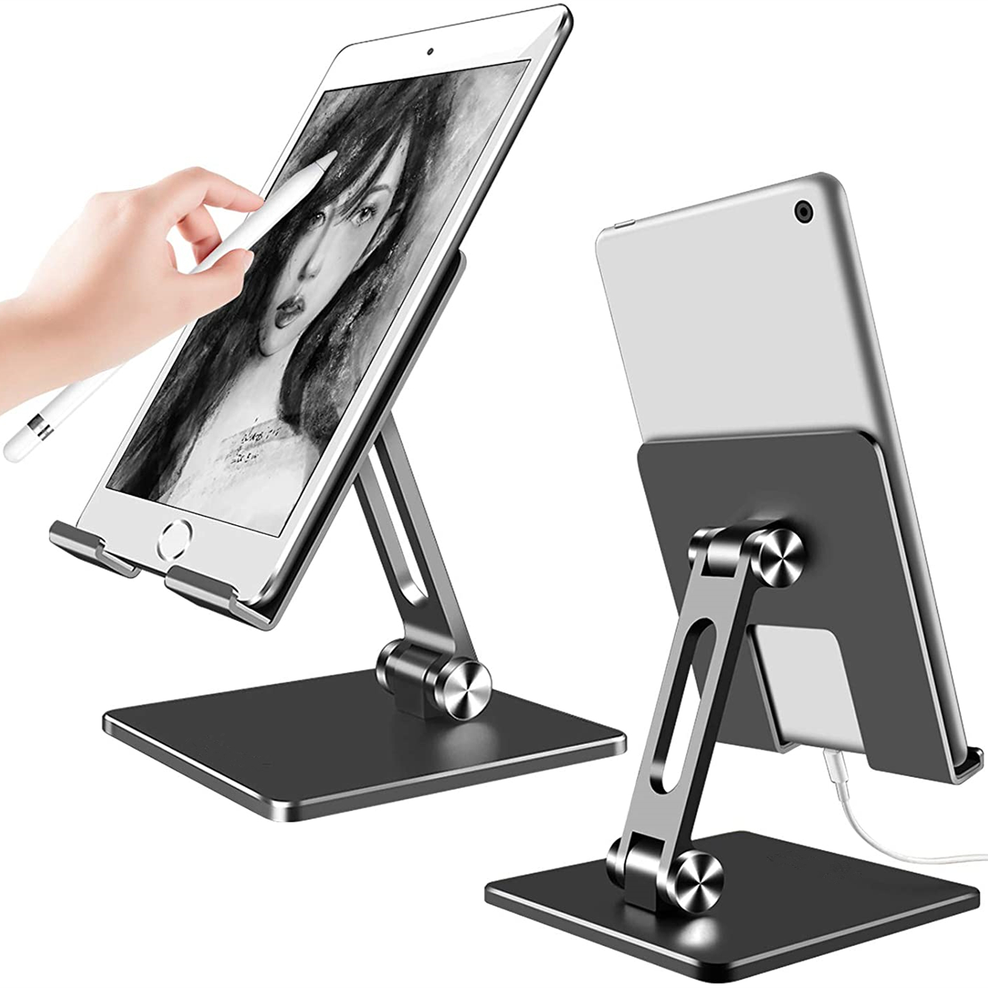 Foldable Aluminum Tablet Stand,Dual Height and Angle Adjustable Bracket for 4