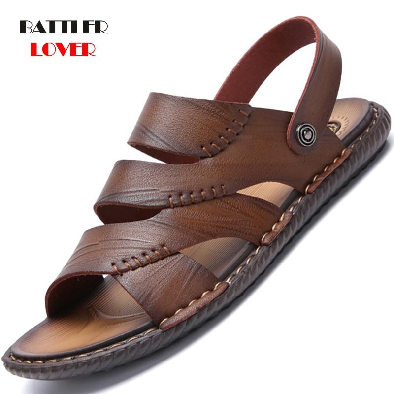 2019 Summer Beach Shoes Men's Trend Casual Non-slip Sandals 100% Genuine Leather Mens Sandal Shoe Male Cow Leather Comfort Shoes