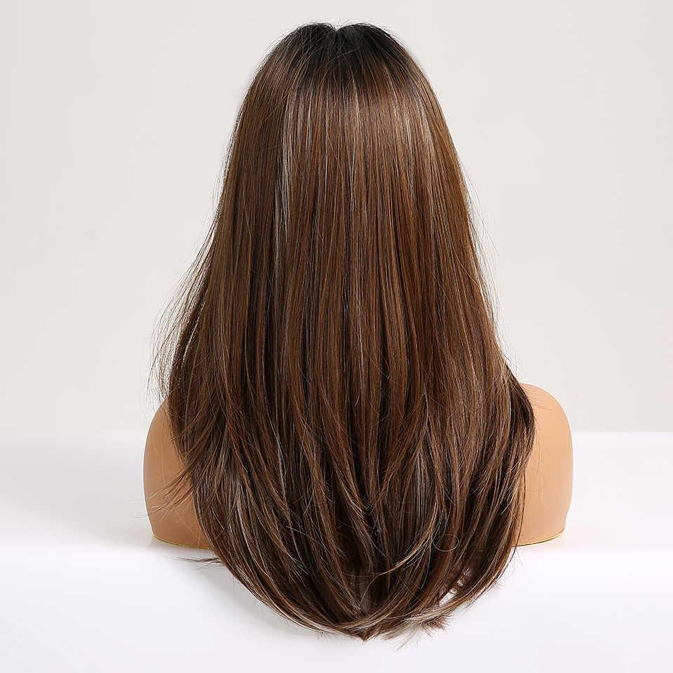 EASIHAIR uzun düz peruk patlama ile siyah kahverengi Ombre sentetik peruk kadınlar için günlük doğal saç peruk isıya dayanıklı
