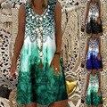Sexy Summer Print Sleeveless Vest Dress Women's Casual O Neck Plus Size Fashion T Shirt Dress Vintage Beach Bohemia Party Dress