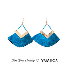 YAMEGA Large Thread Tassel Earrings Long Statement Gold Geometric Earrings Handmade Beaded Fashion Jewlery Gifts For Women(China)