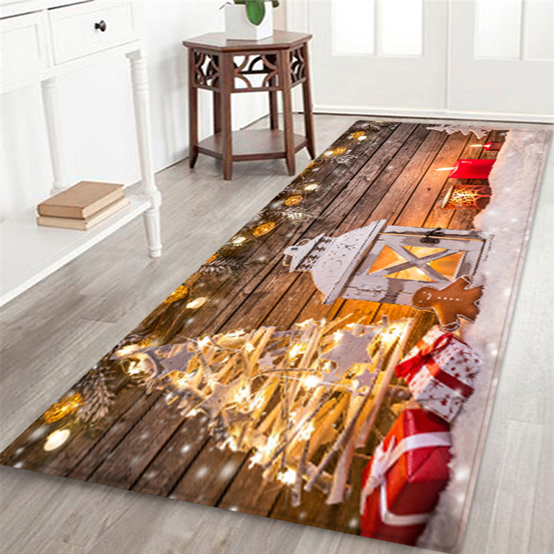 3D Christmas Santa Claus Anti-slip Kitchen Dinning Room Fireplace Floor Mat Flannel Carpet Rug Durable Xmas Home Decor