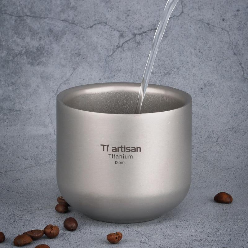 125ml copo de titanio de parede dupla resistente ao calor mini copos de bebida de cha