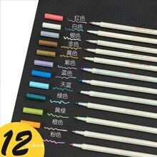 6/10/12 cores caneta marcador metálico que faz a cabeça redonda/caneta de arte macia marcadores de arte desenho diy scrapbooking artesanato cartão papelaria