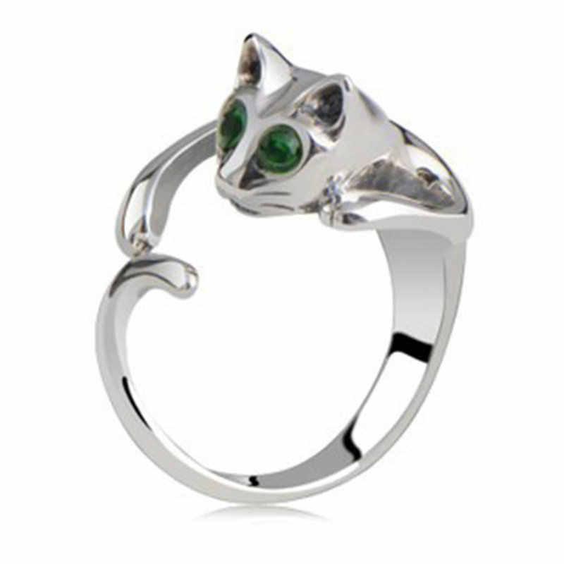 新しい猫開口部のカップルリング合金調整可能な大型サイズのかわいい猫ジュエリーメッキリングオーストラリアのクリスタル宝石リング女性のための男