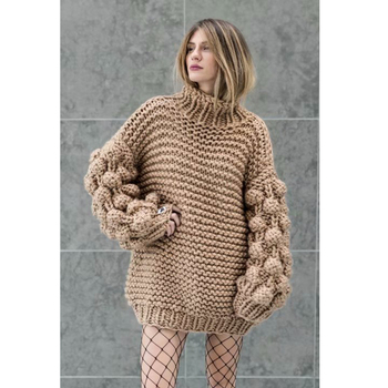 Hand Knitted Chic Handmade Ball Sweater5