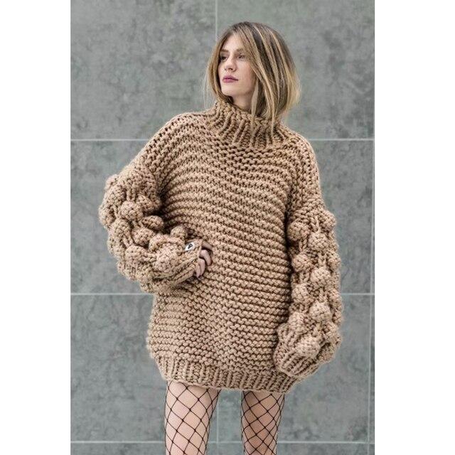 Hand Knitted Chic Handmade Ball Sweater5