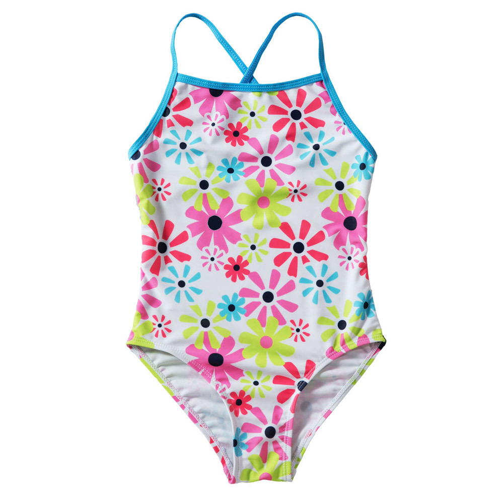 Pa Meng Europe And America New Products Sunflower Printed Cross Camisole Triangular Children One-piece Swimwear TZ410024