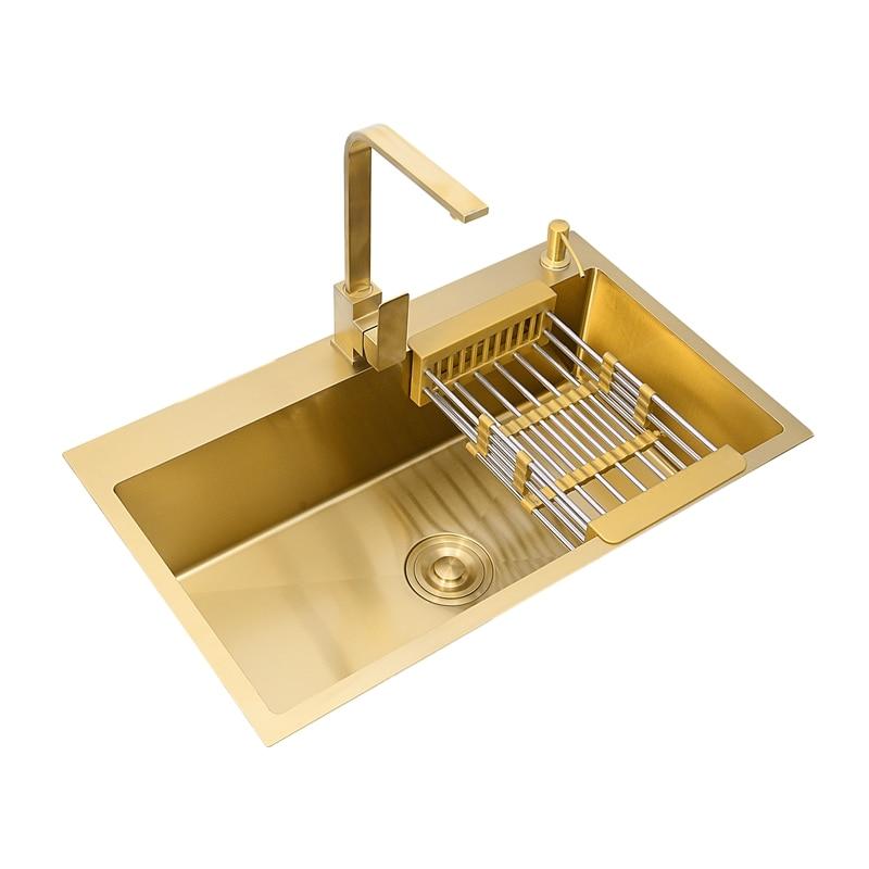 Кухонная раковина с золотым начесом, двойная миска из нержавеющей стали, столешница, сливная ловушка для волос, кухонная миска, стальная кор...