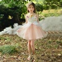 Sweet Unicorn Costume Girls Performance Princess Dress Unicorn Mesh Lace Dress Children Girl Birthday Party Clothing+Headband