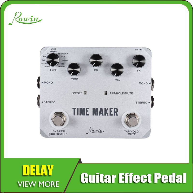 Rowin Time Maker 11 Types Of Ultimate Delay Pedal For Guitar Bass With Tap Tempo