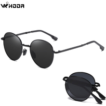2020 Men's Folded Polarized Round Sunglasses , Black Mirror