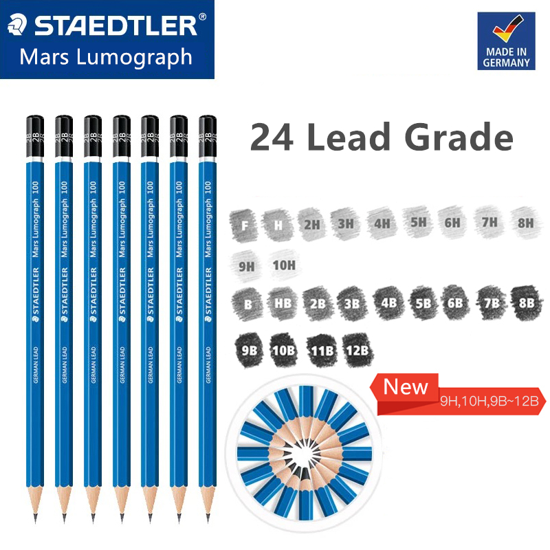1 pc Blue Barrel Staedtler Mars Lumograph Drawing and Sketching Pencils 24 Different Degrees Available(China)