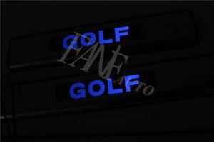 Image 3 - נירוסטה Led דלת אדן שפשוף צלחת משמר אדני מגן Trim עבור פולקסווגן פולקסווגן גולף 7 MK7 גולף R GTI 2012 2019