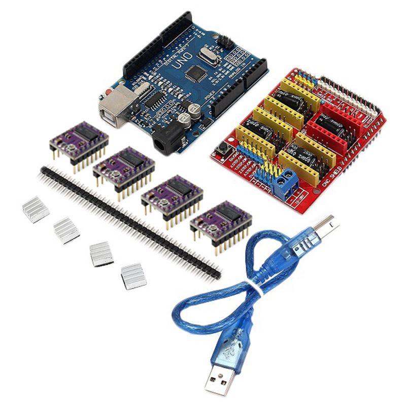 CNC Shield + UNO R3 Board + 4 X DRV8825 Driver Kit For Arduino 3D Printer Module Board