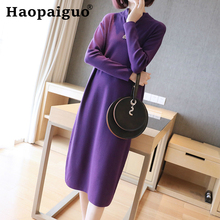 M-XXL Fall Clothe Korean Black Knitted Dress Women Long Sleeve Basic Wear Cotton Midi Casual Autumn Robe