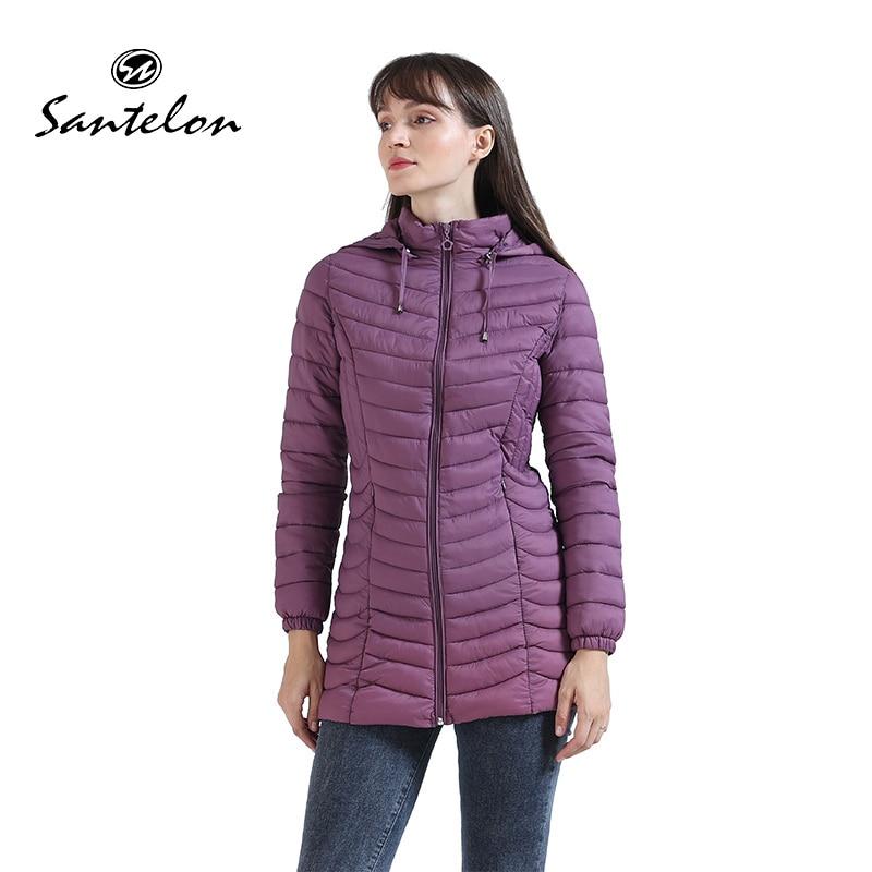 SANTELON 2021 Women Long Padded Jacket With Hood Lady Winter Coat Female  Warm Ultralight Parka Clothing For Chile S20008