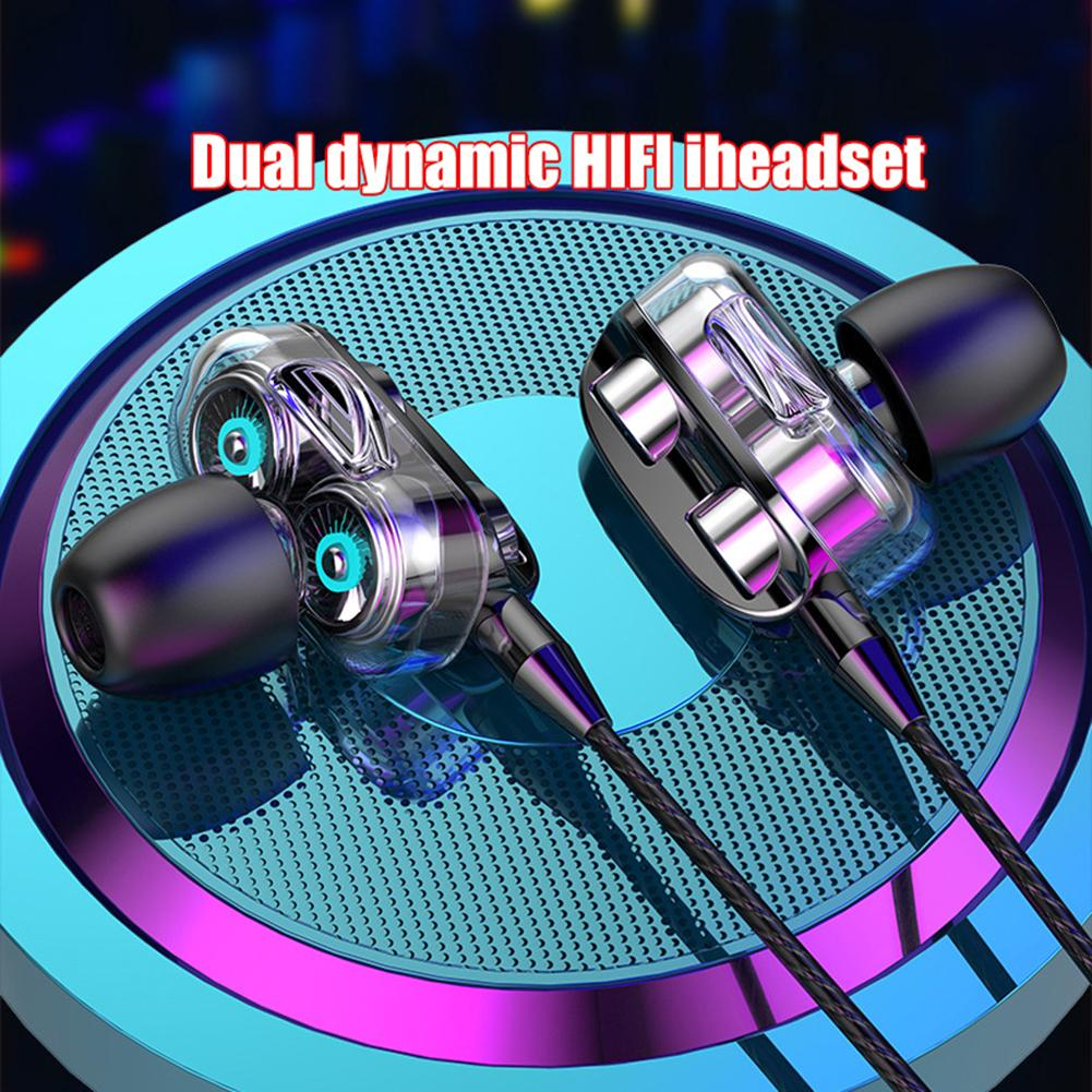 Novos esportes dupla drivers 4 unidades fone de ouvido baixo pesado estéreo de alta fidelidade in-ear com fio fones de ouvido duplo-alto-falante esportes fones de ouvido com microfone