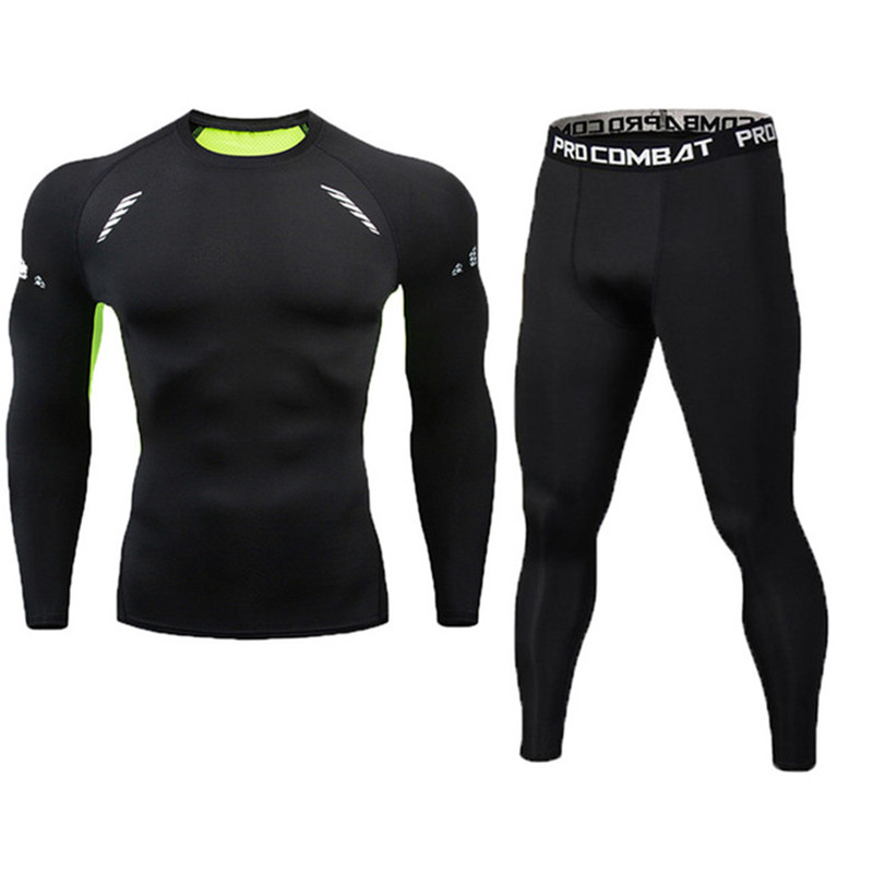 2 Pieces / Set Of Men's Sportswear Gym Fitness Compression Sportswear Clothes Running Jogging Sportswear Sports Fitness Tights